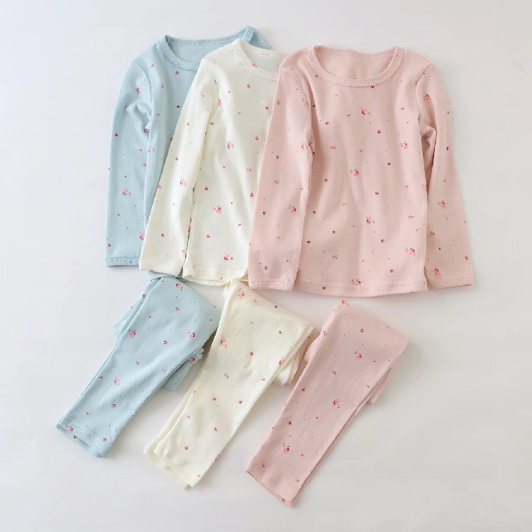2017 spring and autumn winter home girl small floral long sleeve home service pajamas cotton set<br>
