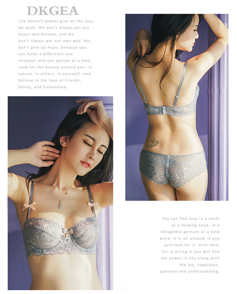 Hot Sexy Bra Set Plus Size 36 38 40 Ultrathin Underwear Women Set White Lace Bra Embroidery Transparent Lingerie Brand Brassiere 9