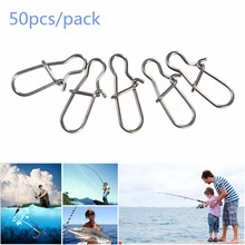 50PCS High Quality Stainless Steel Hook Lock Snap Swivel Solid Rings Safety Snaps Fishing Hooks Connector
