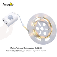 Motion Activated Bed Light Rechargeable USB LED Strip Night Light Illumination with Automatic Shut Off Timer Sensor for Bedroom