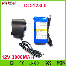 50pcs/lot Super 3000Mah DC 12.6v 12V polymer li-ion battery with AC charger and 12V 3000mah Lithium battery pack(China)