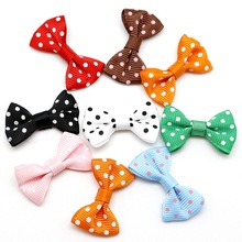 25pcs 4x2.5cm Dots Printed Satin Ribbon Bow Girl Dress Bow Tie Wedding Scrapbooking Gift Package Decoration DIY Craft Making