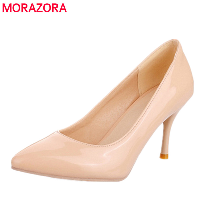 MORAZORA Big Size 34-45 2017 New Fashion high heels women pumps thin heel classic white red nede beige sexy prom wedding shoes(China (Mainland))