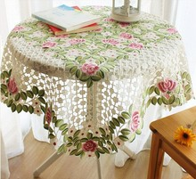 Hand Embroidery Tablecloth Round Tea Party Or Coffee Table Cover For Wedding Decoration(China)