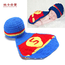 Superman Design Soft Adorable Hand-woven Cute Newborn Crochet Baby Clothes Baby Photo Photography Props