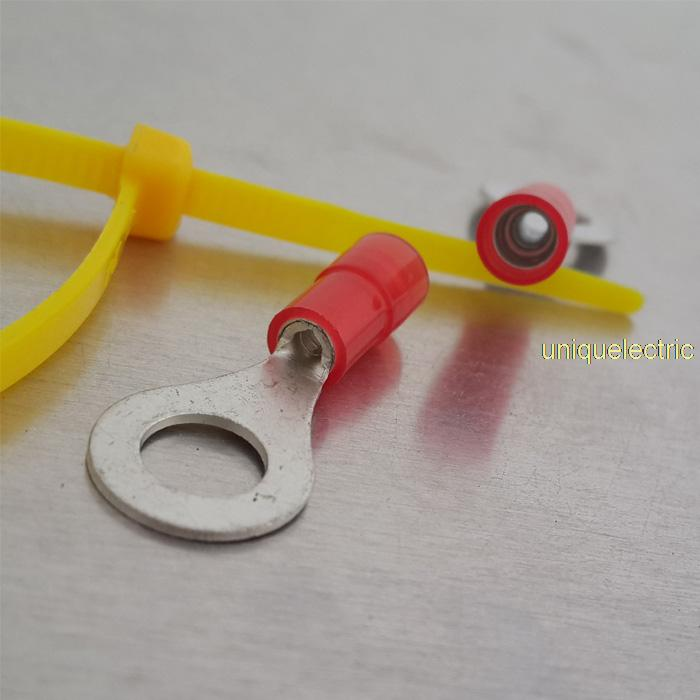 100 PK Double Crimp Funnel Entry Marine Grade Electrical Premium Nylon Insulated 22-16 AWG 1/4 Ring Terminal Connector<br>