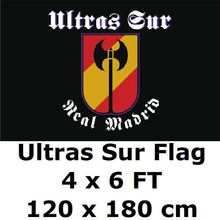 Ultras Sur Flag 4` x 6` FEET 100D Polyester Big Bandera La Liga Football Club Fans Flags and Banners For Home Decoration