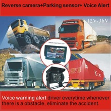 brand new high quality 24Voltage waterproof truck 4 reverse camera 4 ultrasonic parking sensor parking aid system(China)