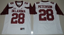 NIKE Oklahoma Sooners Adrian Peterson 28 College Ice Hockey Jerseys - White Size S M L XL 2XL 3XL(China)