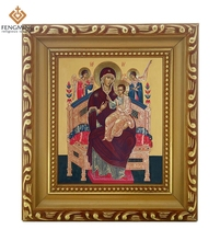 Factory outlets cheap wood photo frame lcon of Mother of God icon Vsetsaritsa orthodox baptism byzantine style religious system