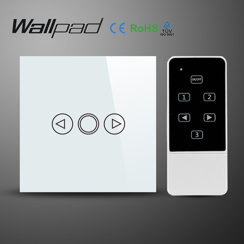 Wallpad EU UK Standard Wireless Remote control wall Dimmer touch switch, Crystal Glass White Wifi Dimmer Switch,Free Shipping<br>