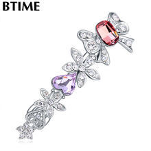 High Quality Flower Hair Accessories Hair Clip Jewelry 3 Optional Crystals From Swarovski(China)