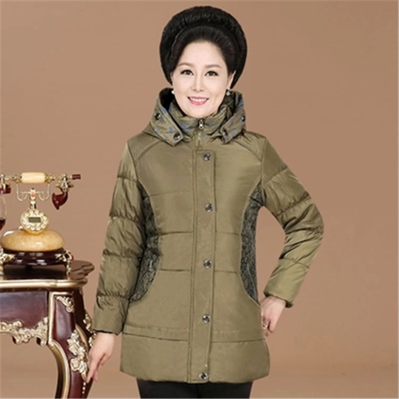2017 Coats Thick jacket winter coat long middle-aged womens hooded cotton outwear plus size elderly mom padded parka coat MZ766Îäåæäà è àêñåññóàðû<br><br>