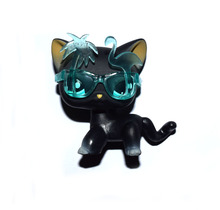 Pet Shop Cyan Eyes Shor Hair Black Cat With Sunglass Figure Child Toy XMAS GIFT FREE SHIPPING(China)