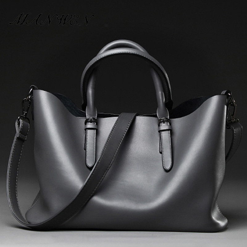2017 New casual Large capacity genuine leather Tote bags for women High quality Black gray zipper handbags female Commuter bags<br>
