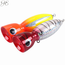 160g JE Topwater Wooden Poppers GT Surface Popping Lures Deep Sea Handmade Fishing Baits for Open Ocean Angling Trolling
