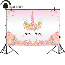 Allenjoy pink unicorn photography backdrop birthday flower banner Dessert table Background photobooth photocall original design(China)