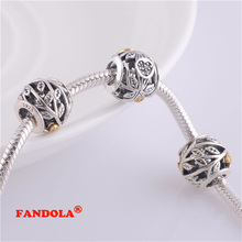 Fits for Pandora Charms Bracelets Leaves Beads with 14k Gold Plaed 925 Sterling Silver Jewelry Free Shipping