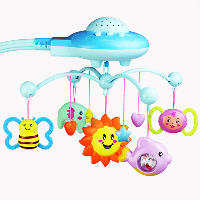 Baby Crib 0 12 Months Mobile Musical Bell Star Projection Hanging For