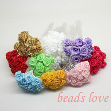 1.5cm head Multicolor Mulberry satin Flower Bouquet/ Scrapbooking artificial rose flowers(144pcs/lot)Pick color(w02646-w02656)(China)