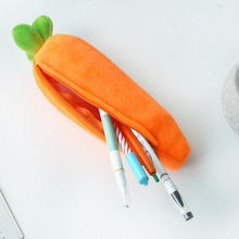 Creative Carrot Pencil Plush Case Stationery Storage Organizer Bag School Office Supply Escolar