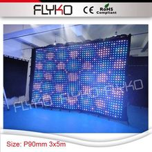 standard hot dimension 3x5m better resolution pixel pitch 90mm backdrop vision wall led curtain