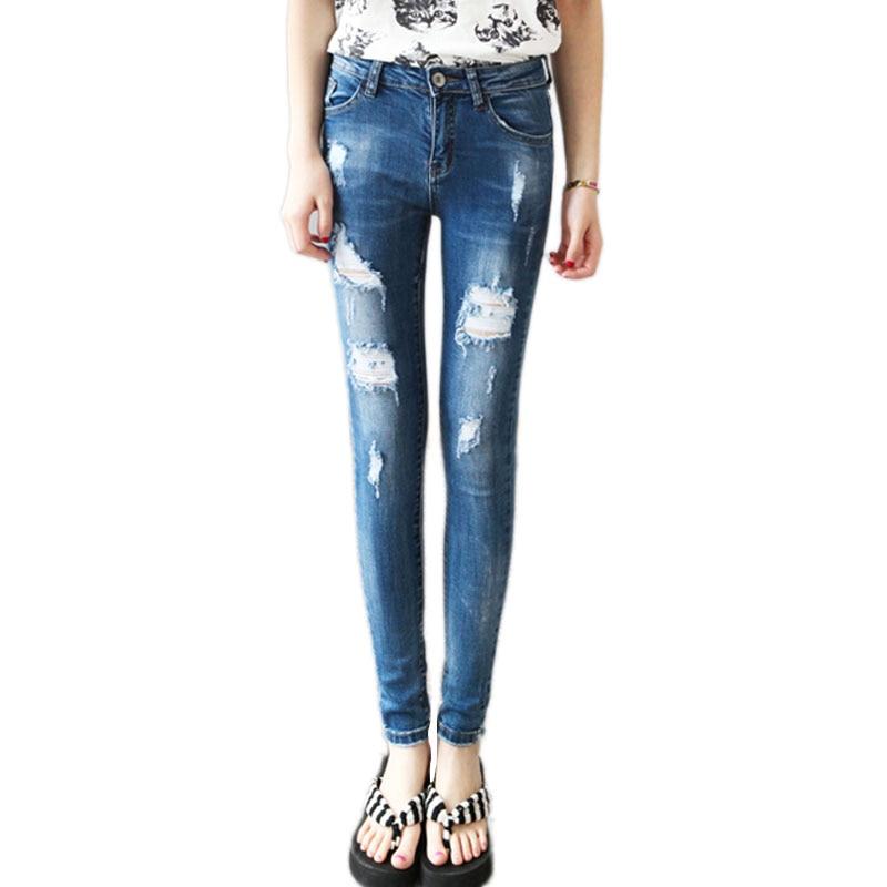 2017 Women Ripped Jeans Female Skinny Slim Hole Fashion Casual Pencil pants Slim Denim jeans Trousers Pantalon FemmesОдежда и ак�е��уары<br><br><br>Aliexpress