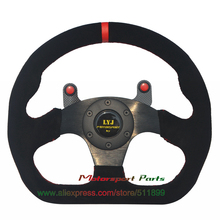 With Carbon Fiber Button Car Steering Wheel Universal Racing Steering Wheel Flat Model D Shape Game Steering Wheel Red Stitching(China)