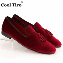 COOL TIRO New Wine Red Fashion Velvet Loafers Tassel Mens  Casual Flats Luxury Fashion Driving Handmade Shoes