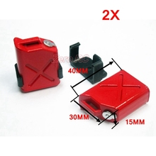 1 PAIR 1/10 SCALE MINI FUEL OIL CANS TANKS (RED) FOR RC ROCK CRAWLER TRUCK