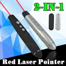 2 in1 USB Wireless Red Laser Pointer with Clip PPT Presenter Pen RF Remote Control for Office School Powerpoint For PC Laptop