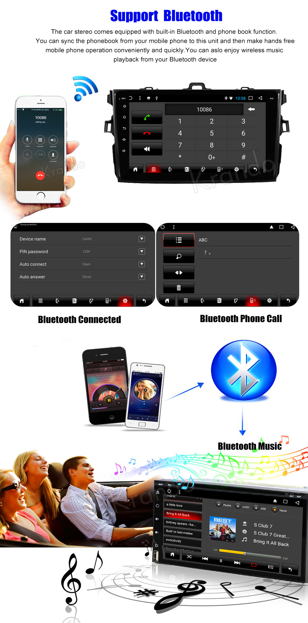 Krando Android car radio gps navigation multimedia system for toyota Corolla 2007 2008 2009 2010 2011 2012