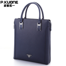 P.KUONE Brand Luxury Men's Briefcase Genuine Cow Leather Hand Bag Hard Cowhide Leather Handbag For Men Messenger Bag Blue
