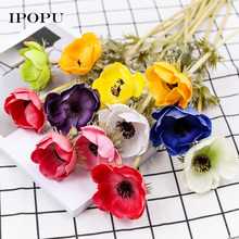 Artificial Flowers Poppy Flower for Home Decroation PU Leather Rose Simulation Fake Flower Wedding Party Supplies Decor