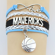 Drop Shipping Infinity Love Mavericks Basketball Team Bracelet Handmade Leather Braid Sports Team Charm Bracelet Fashion Jewelry(China)