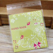 100pcs 10*13cm Green Hand Made Chocolate Cookies Resealable Gift Candy Food Beans Cookie Handmade Self Adhesive Packing Bags