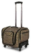 Women Oxford Cosmetic Trolley Box 16'' Multi Pockets Spinner Toiletry Toolkit Professional Cosmetic Case Leopard Print and Black