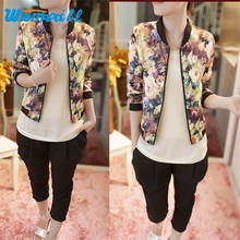 Hot Marketing 1PC Women Stand Collar Long Sleeve Zipper Floral Printed Bomber Jacket  Drop Shipping S21 Drop Shipping