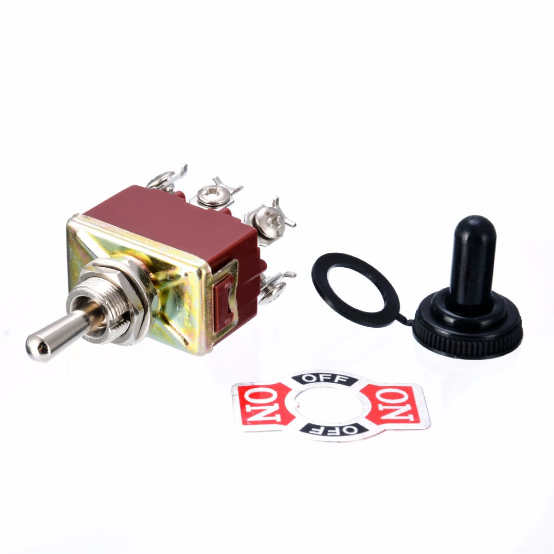 1X Mini Toggle Switch 6 Pins DPDT 3 Positions Momentary ON - OFF - ON Waterproof Cap AC 250V 15A Electric Toggle Switch