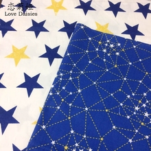100% cotton nordic wind blue stars constellation twill cloth DIY for kids bedding tent clothes dress handwork patchwork fabric(China)