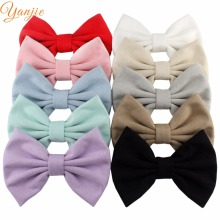 "10pcs/lot 2017 5"" inches Winter/Fall Suede Kids Girl Hair Bows For Men Wedding Tie Brooch Barrette Hair Clip For Party Headbands(China)"