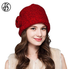 FS New Fashion Woman's Warm Woolen Winter Skullies Beanies Hats Knitted Fur Cap Ladies Coarse Lines Warm Wool Cap
