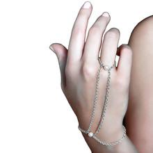 2017 New Bohemian Women Chain Bracelets Classic Imitation Pearl Contacting Finger Bangles Slave Chain Bracelets Gifts Wholesale