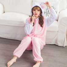 Flannel Winter Warm Pyjamas Cartoon Couple Animal Pink Hello Kitty Plus Thick Velvet Pajamas Siamese Pajamas Men Women Sleepwear