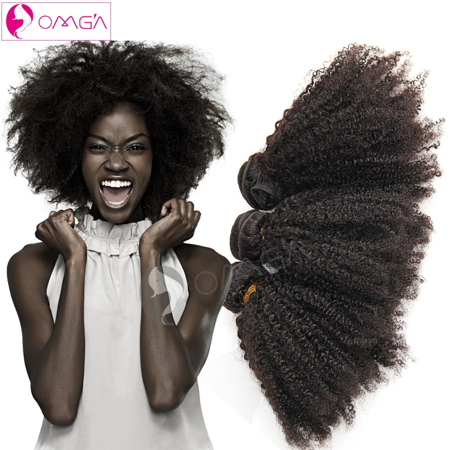 OMGA Brazilian Afro Kinky Curly Virgin Hair 3 Bundles Afro Kinky Curly Human Hair Weaves 1B 100g/pc Brazilian Hair Extensions 7a<br><br>Aliexpress