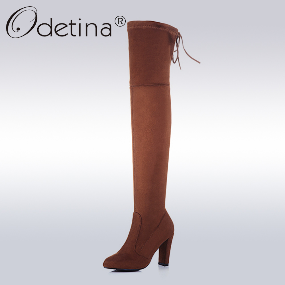 Odetina 2017 Women Faux Suede Thigh High Boots High Heels Stretch Slim Sexy Fashion Over The Knee Boots Square Heel Big Size 43<br>