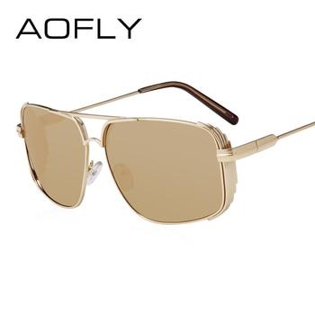 AOFLY 2017 Hommes Carré Steampunk lunettes de Soleil Vintage Cool Summer Style Miroir Lunettes de Soleil Homme Oculos Gafas Avec Cas UV400 AF2502