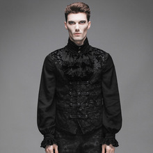 Devil Fashion Gothic Victorian Sleeveless Velvet Vest for Men Steampunk Medieval Gentlemen Black Jacket Waistcoats