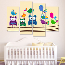 4 Pieces Canvas Art Abstract Birds Painting Multi-Color Decorative Wall Painting For Children Room Modular Picture(Unframed)