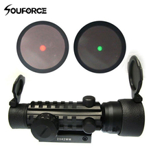 High Quality 2x42mm Red Green Dot Rifle Scope Sight With 20mm Weaver/pica Tri Rifle Troy Sights Laser Bore Sight For Hunting(China)